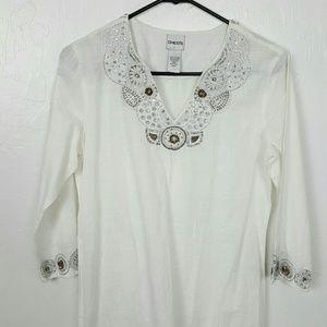 Chicos women white cotton top tunic size 0